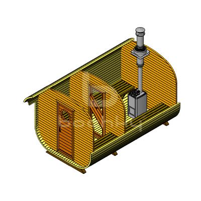 Sauna Barrel Patrat «CONFORT»