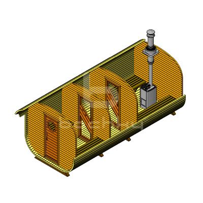 Sauna Barrel Patrat «MEGA-3»