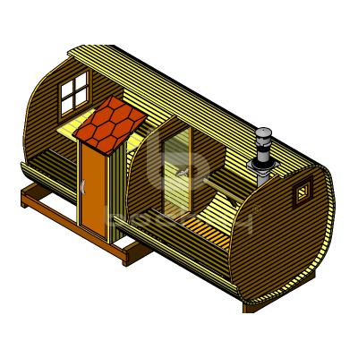 Sauna Barrel OKTA «MEGA-2-SV»
