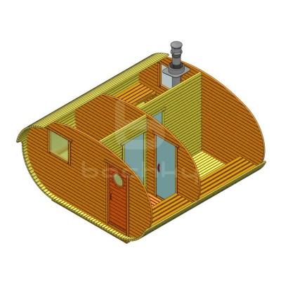 Sauna Barrel Oval «4х4» cu delimitare